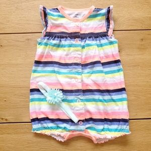 Carter's Rainbow Striped Romper & Flower Headband